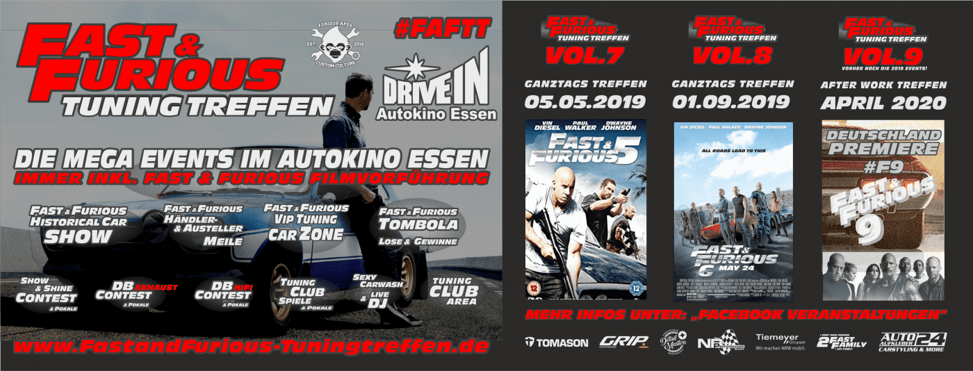 Fast and Furious Tuning Treffen - Mega Event im Autokino Essen
