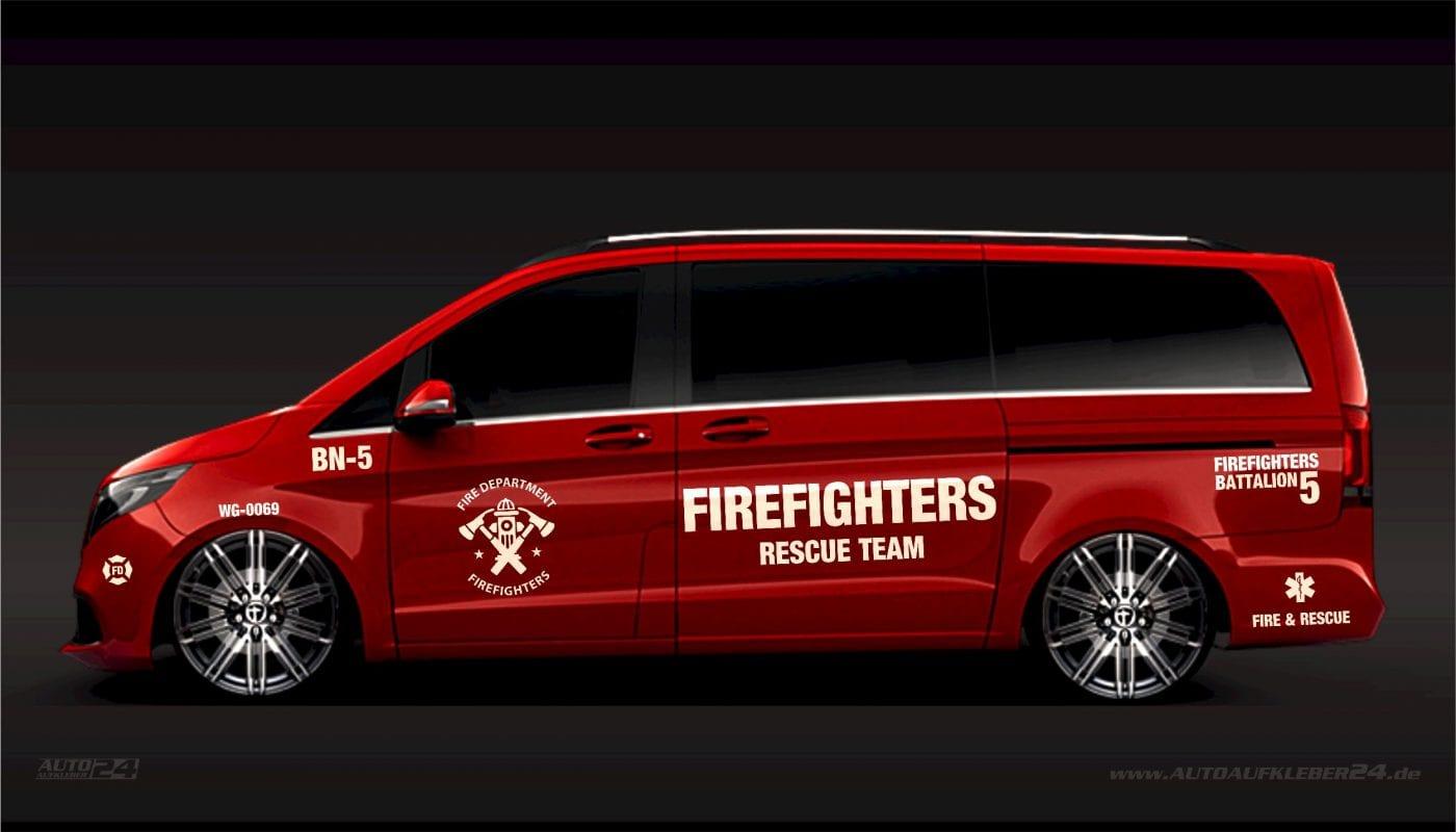 Firefighters Aufkleber / Seitenaufkleber - Mercedes Vito, Vaneo, V-Klasse