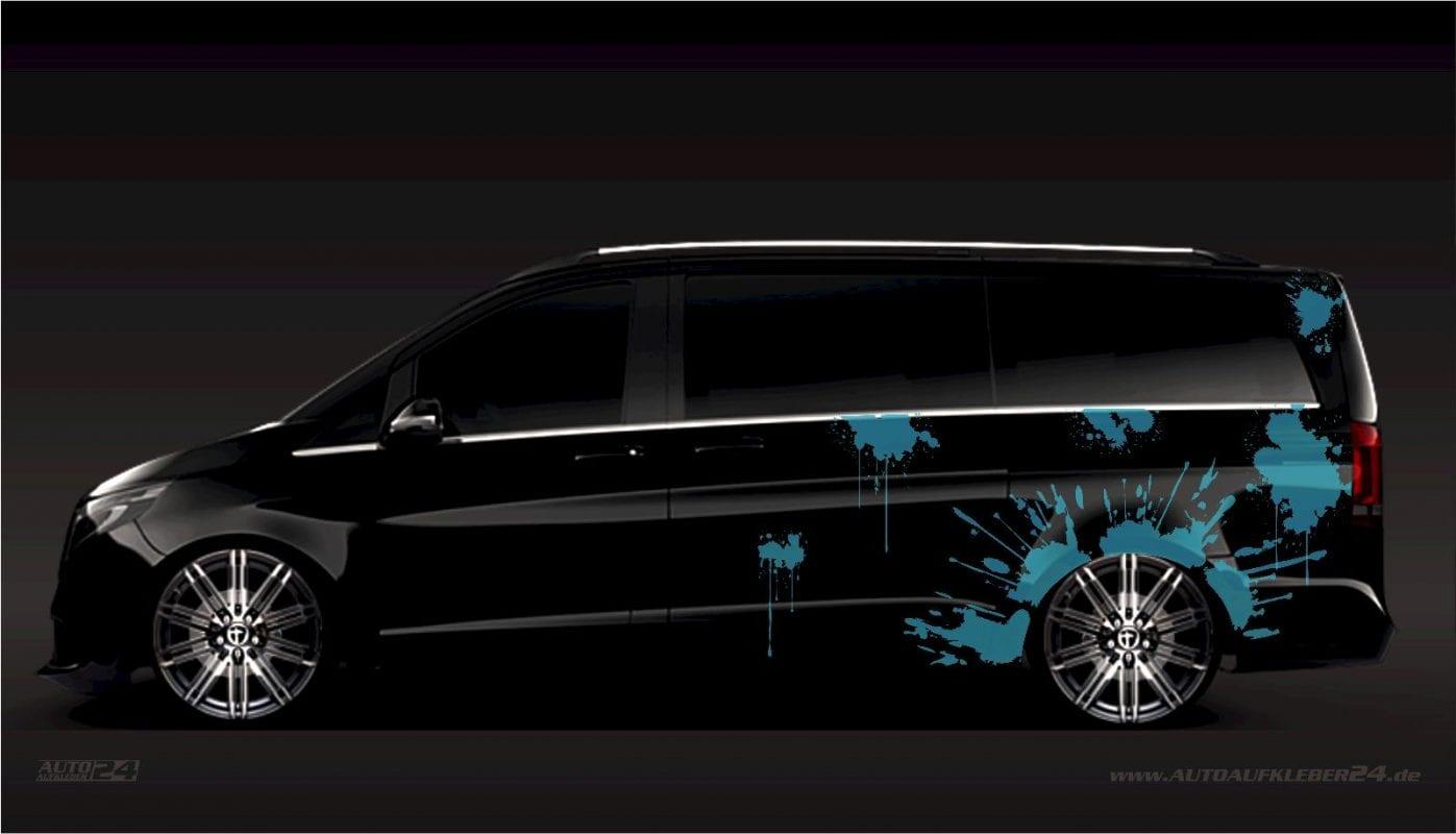 Splash Design - Aufkleber / Seitenaufkleber / Autoaufkleber Mercedes Vito, Vaneo, V-Klasse AMG