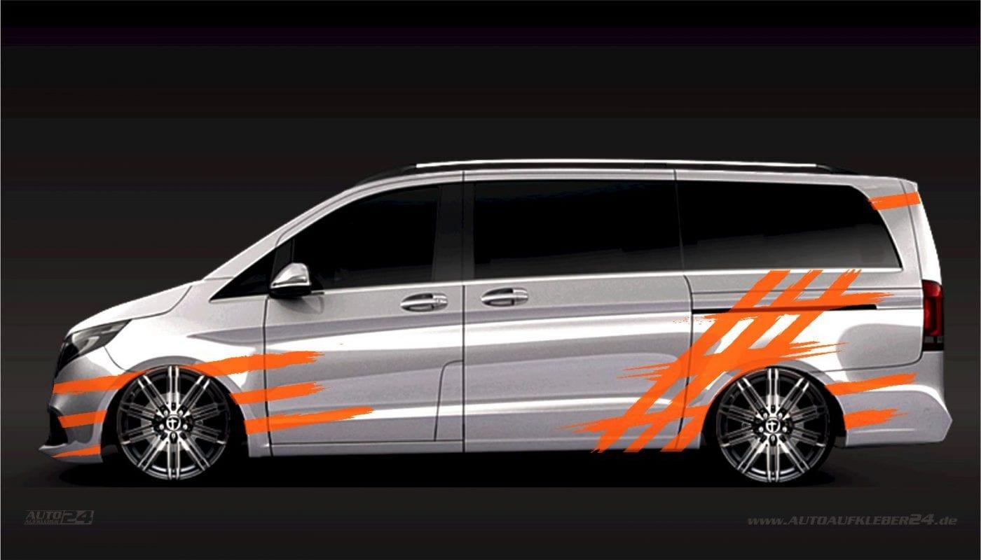 Brush Design #006 - Aufkleber / Seitenaufkleber / Autoaufkleber Mercedes Vito