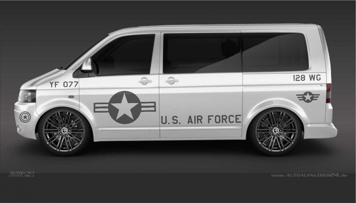U.S. Air Force -Aufkleber / Seitenaufkleber Volkswagen VW Transporter