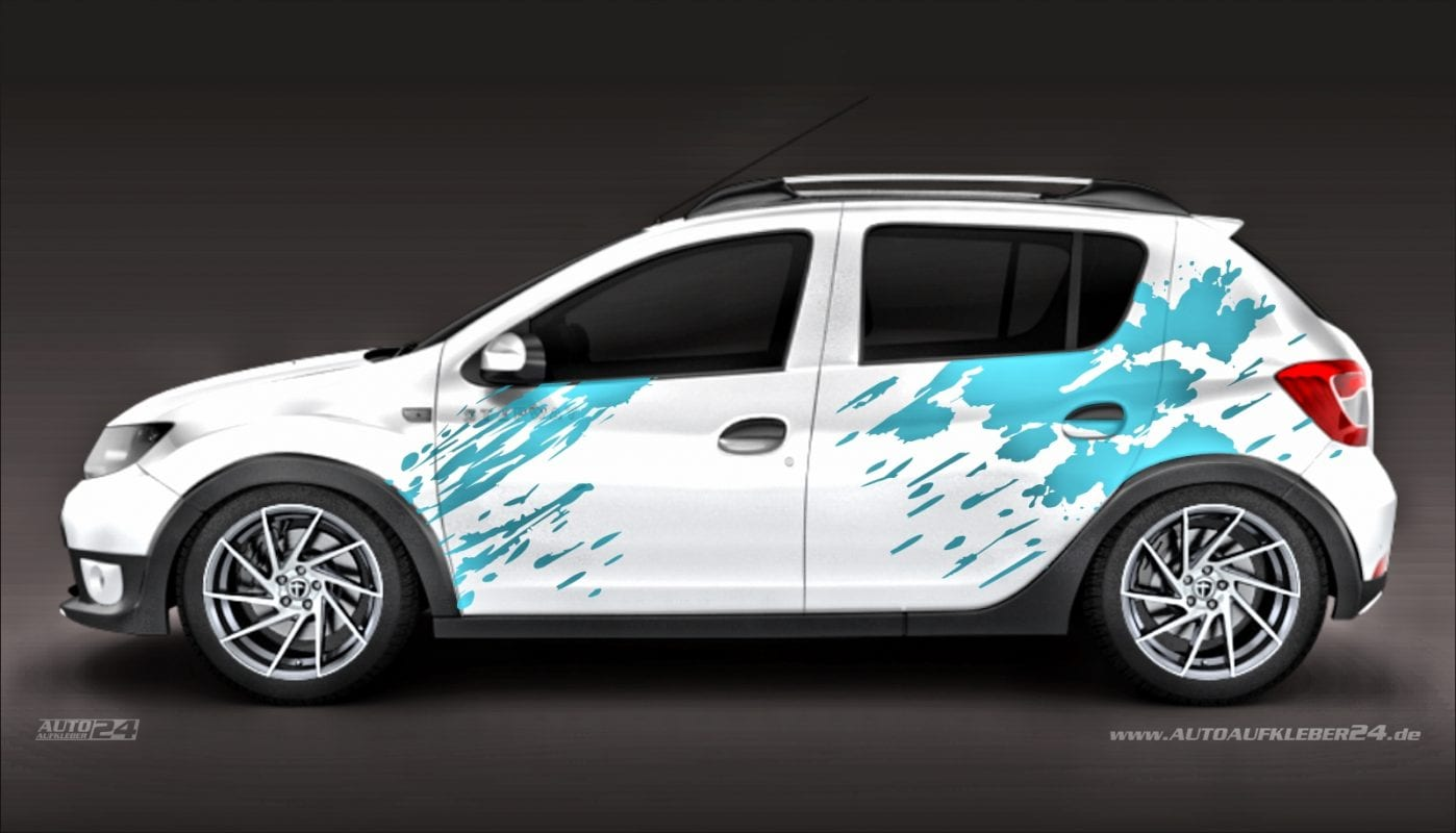 Farbspritzer Blut - Aufkleber / Seitenaufkleber / Autoaufkleber SUV Dacia Duster Sandero