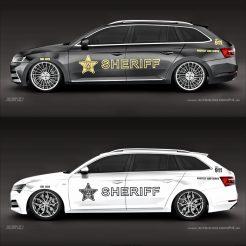 Police / Sheriff Autoaufkleber Seitenaufkleber Aufkleber für Skoda Oktavia RS und weitere