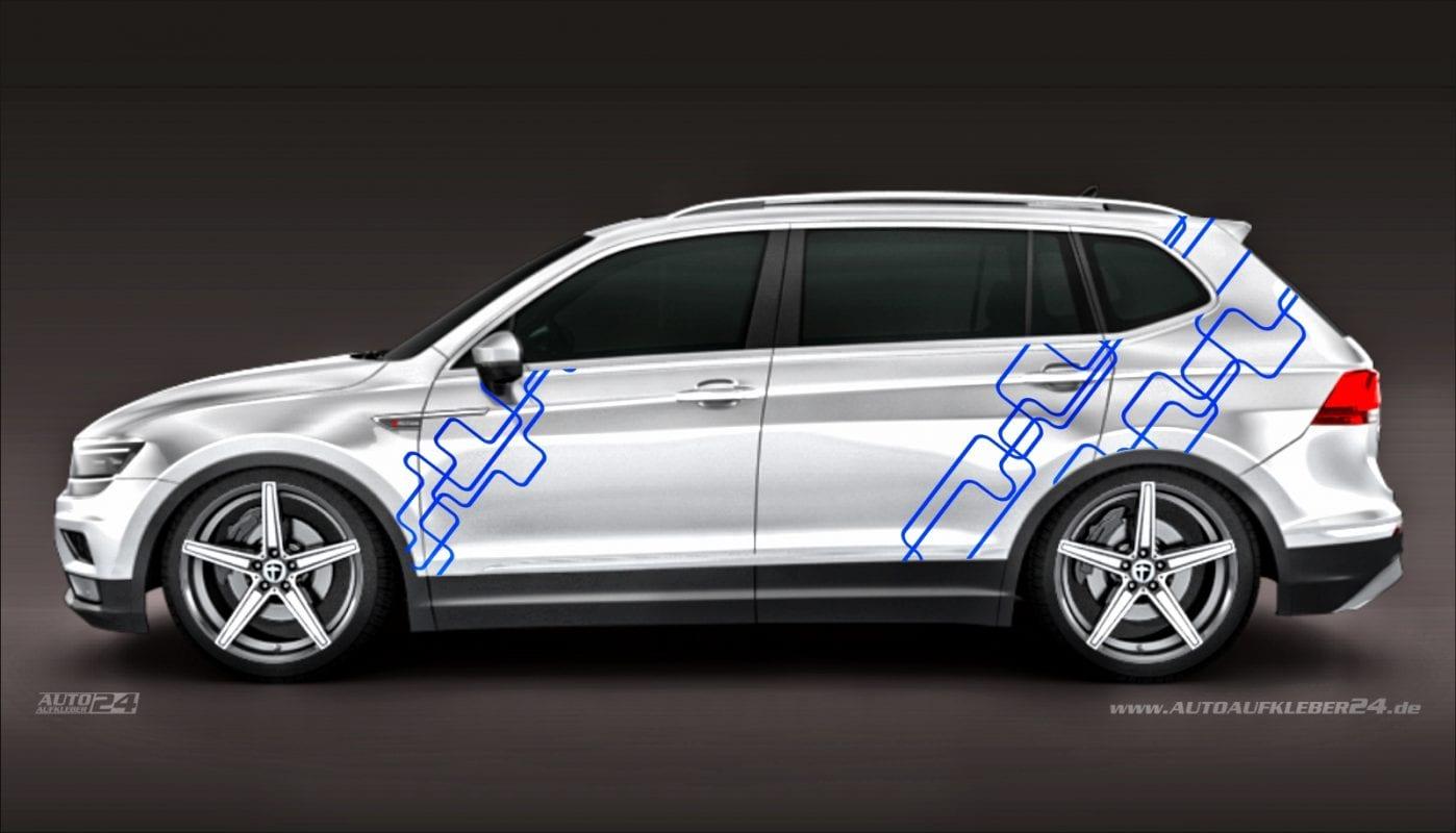 Geometrie Design #026 - Aufkleber / Seitenaufkleber / Autoaufkleber SUV Volkswagen VW T-Roc T-Cross Tiguan
