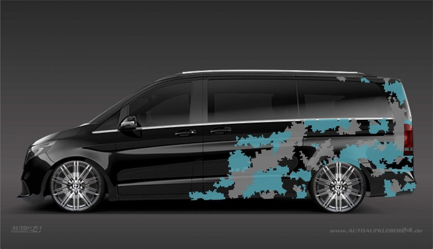 Cyber Pixel Camouflage Aufkleber Design / Seitenaufkleber - Mercedes Vito