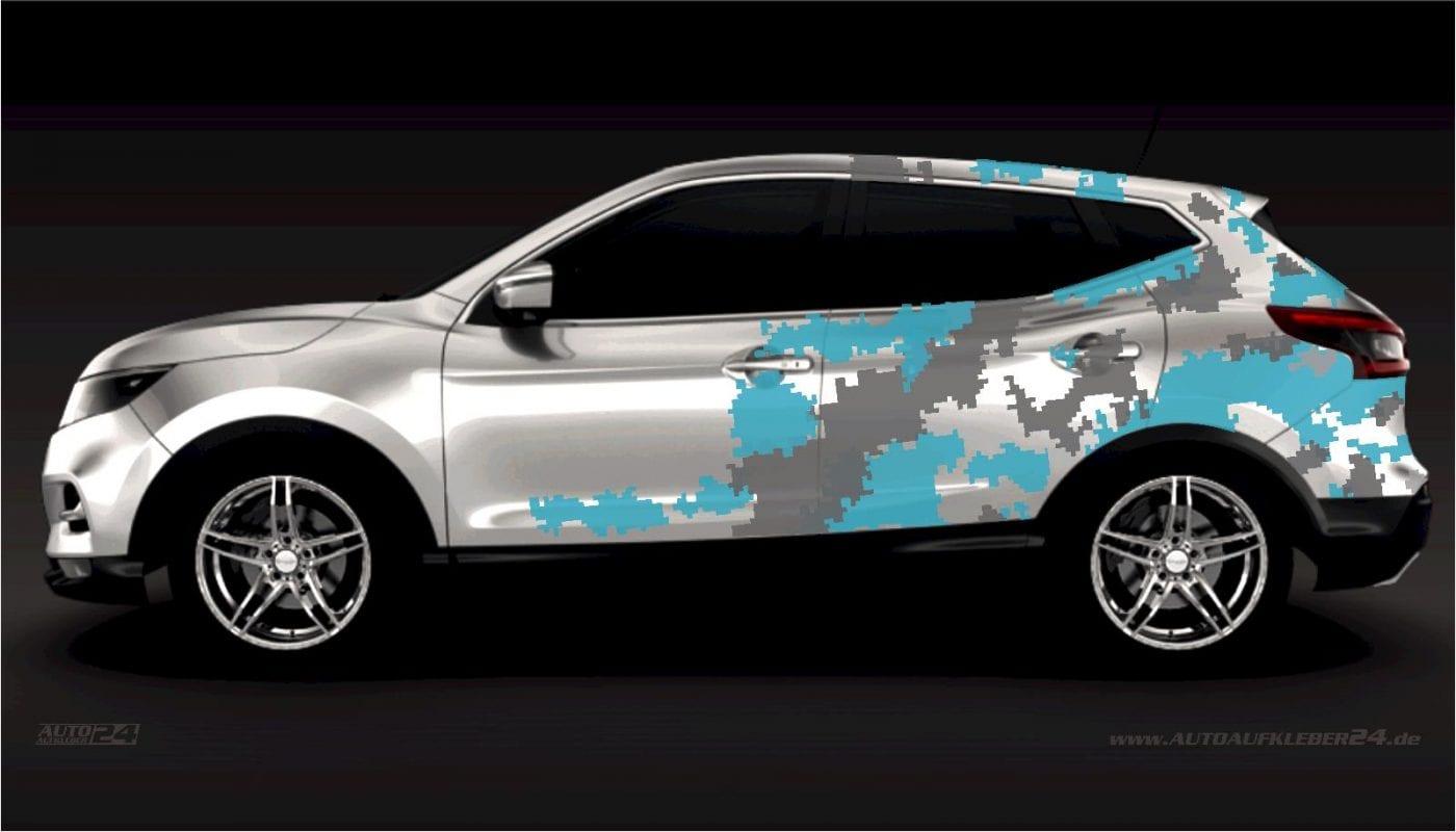 Pixel Cyber Camouflage Design - Aufkleber / Seitenaufkleber / Autoaufkleber SUV Nissan Qashqai X-Trail Tuning