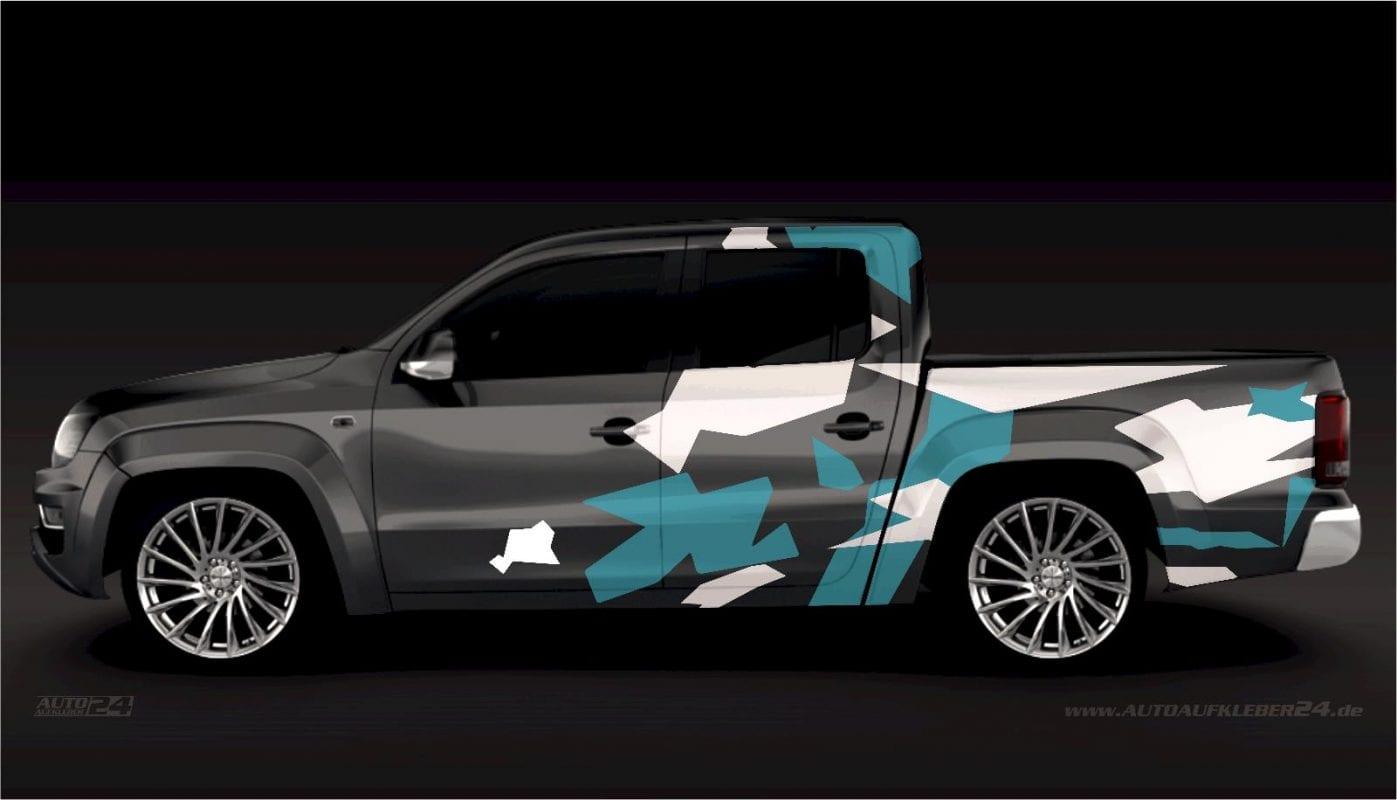 Camouflage Stealth Design - Aufkleber / Seitenaufkleber / Autoaufkleber SUV Volkswagen VW Amarok,