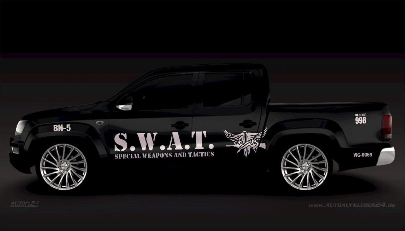 SWAT - Aufkleber / Seitenaufkleber / Autoaufkleber SUV Volkswagen VW Amarok