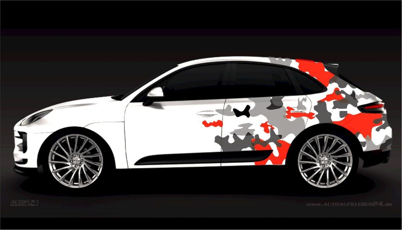 Camouflage Design - Aufkleber / Seitenaufkleber / Autoaufkleber SUV Porsche Cayenne Macan turbo, Tuning