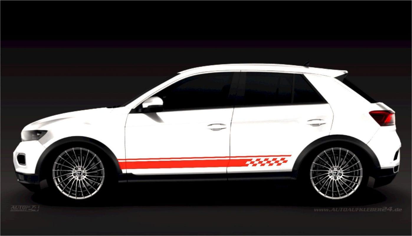 Seitenstreifen Zierstreifen - Aufkleber / Seitenaufkleber / Autoaufkleber SUV Volkswagen VW T-Roc T-Cross Tiguan