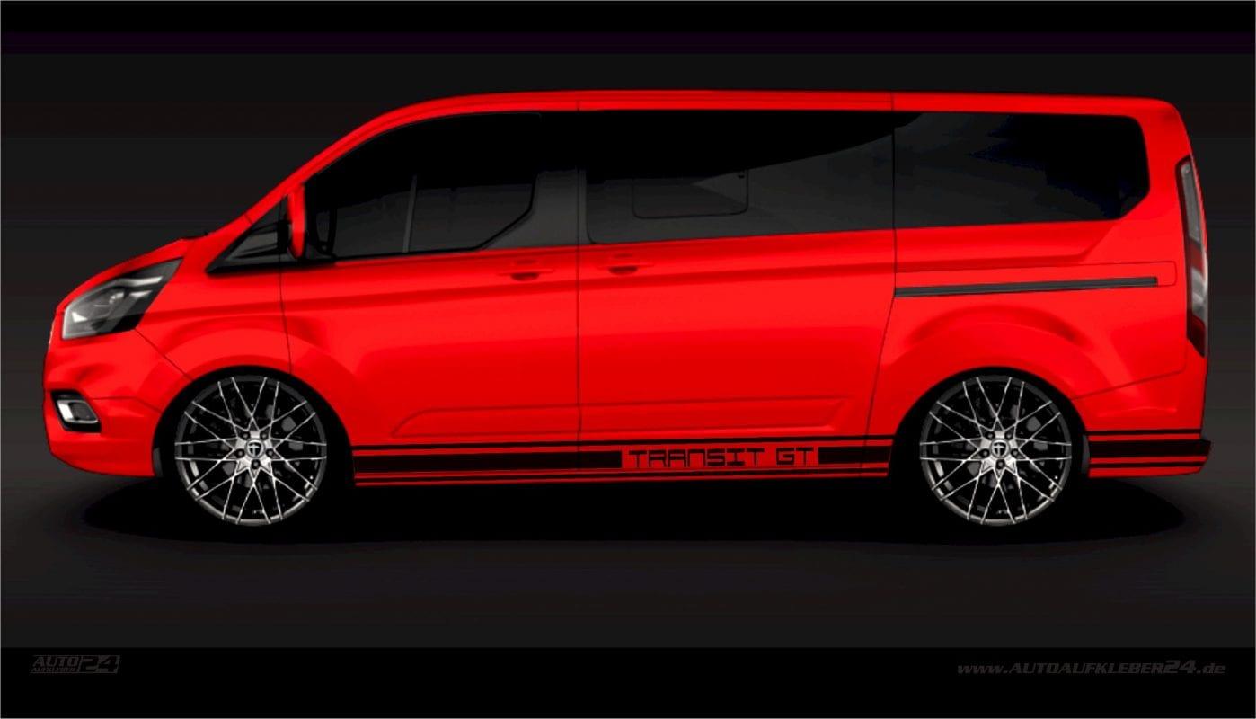 Seitenstreifen / Seitenaufkleber / Autoaufkleber mit Wunschtext - Ford Transit