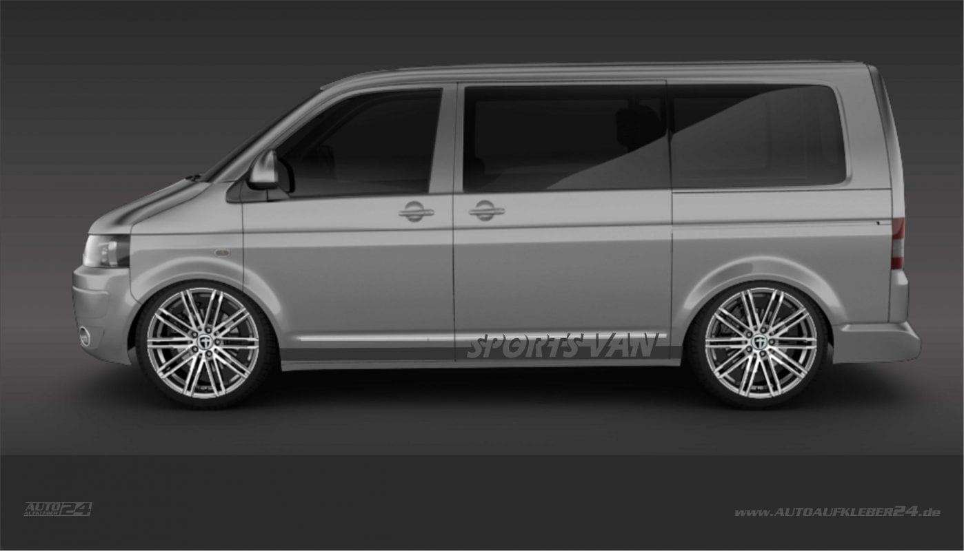 Seitenstreifen / Seitenaufkleber / Autoaufkleber mit Wunschtext - Volkswagen VW Transporter
